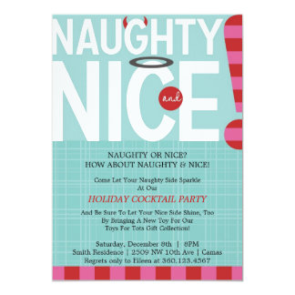Naughty & Nice 13 Cm X 18 Cm Invitation Card