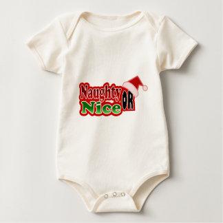 Naughty Nice Christmas Text Design Baby Creeper