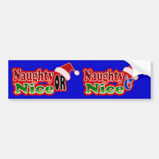 Naughty Nice Christmas Text Design Bumper Sticker