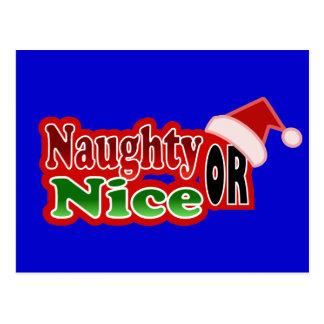 Naughty Nice Christmas Text Design Postcard