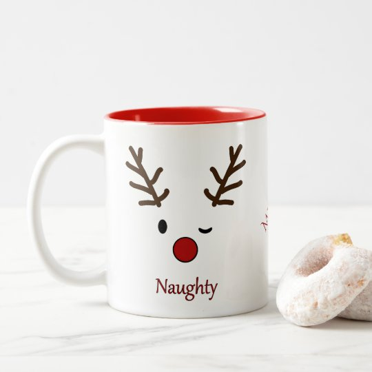 Naughty & Nice Personalised Reindeer Two-Tone Coffee Mug