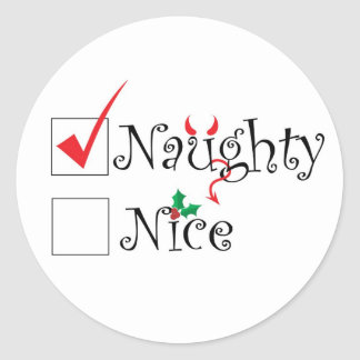 Naughty Nice Round Sticker