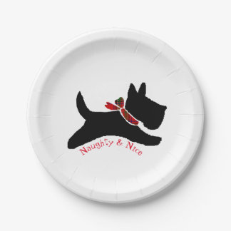 Naughty & Nice Scottie Dog Paper Plate