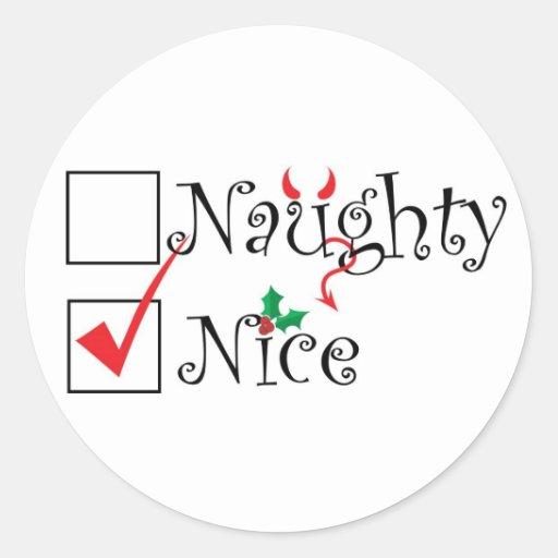 Naughty Nice Round Stickers