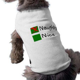 Naughty Not Nice Christmas Sleeveless Dog Shirt