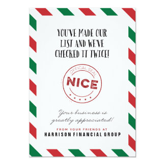 Naughty or Nice Corporate Holiday Card 13 Cm X 18 Cm Invitation Card