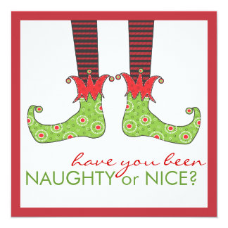 Naughty or Nice Elf Feet Holiday Christmas Party 13 Cm X 13 Cm Square Invitation Card