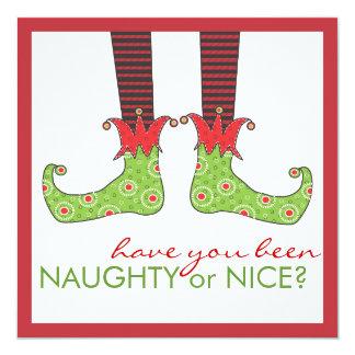 Naughty or Nice Elf Feet Holiday Christmas Party Card