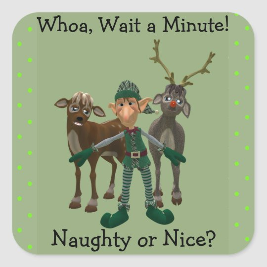 Naughty or Nice? Funny Elf and Reindeer Sticker