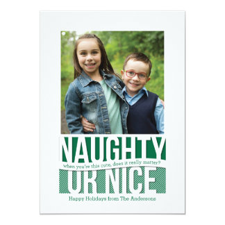 Naughty or Nice Funny Holiday Square Photo Card 13 Cm X 18 Cm Invitation Card