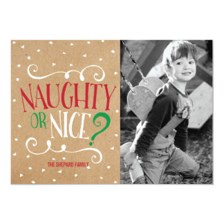 Naughty or Nice Kraft Christmas 13 Cm X 18 Cm Invitation Card