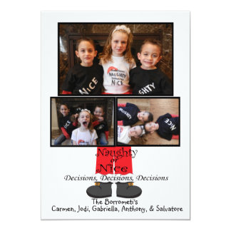 Naughty or Nice Photo Christmas Card 13 Cm X 18 Cm Invitation Card