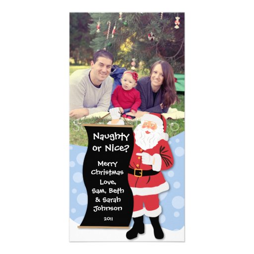 Naughty or Nice Santa Christmas Card Custom Photo Card