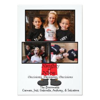 Naughty Or Nice Santa Legs Christmas Photo Card 13 Cm X 18 Cm Invitation Card
