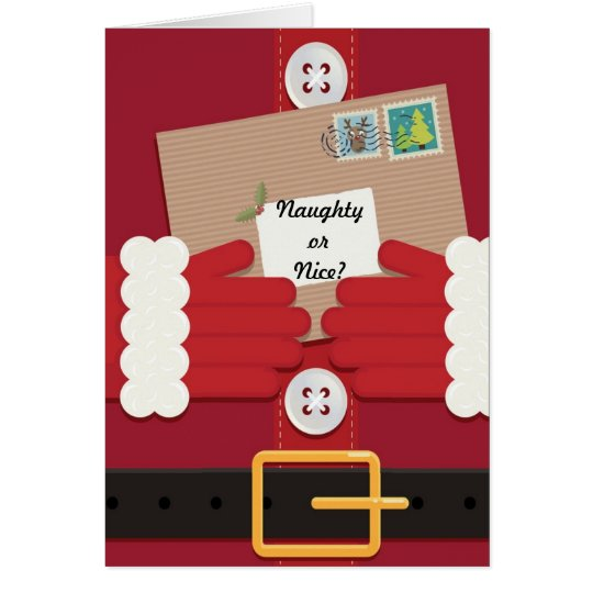 Naughty or Nice - Santa Suit Christmas Card