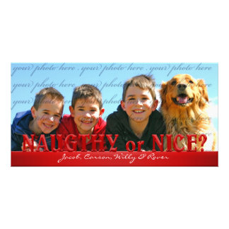 Naughty or Nice? Simplicity in Red Personalized Photo Card