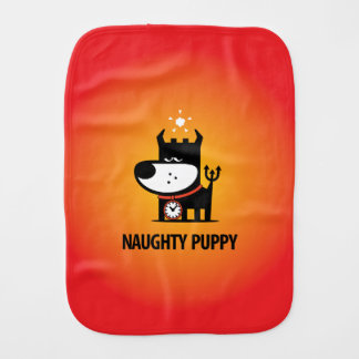 Naughty Puppy Baby Burp Cloths