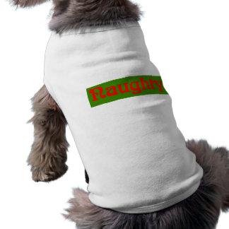 Naughty Red on Green Sleeveless Dog Shirt