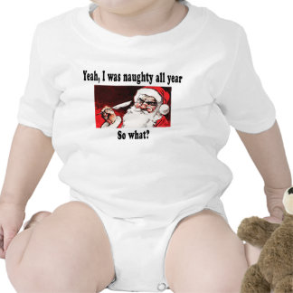 Naughty Santa with quill pen. Baby Bodysuits