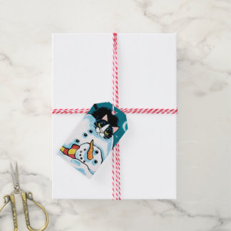 Naughty Tuxedo Cat and Snowman Gift Tags