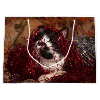 Naughty tuxedo kitty Christmas Large Gift Bag