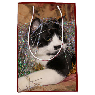 Naughty tuxedo kitty Christmas Medium Gift Bag