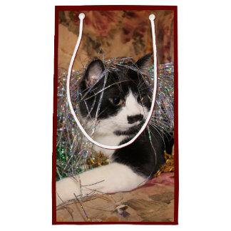 Naughty tuxedo kitty Christmas Small Gift Bag