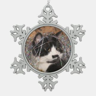 Naughty tuxedo kitty Christmas Snowflake Pewter Christmas Ornament