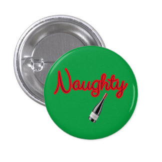 Naughty with Wine Bottle 3 Cm Round Badge