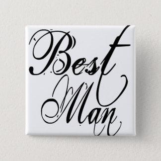 Naughy Grunge Script - Best Man Black 15 Cm Square Badge