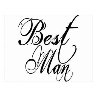 Naughy Grunge Script - Best Man Black Post Cards