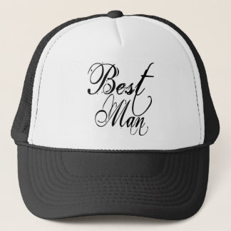 Naughy Grunge Script - Best Man Black Trucker Hat