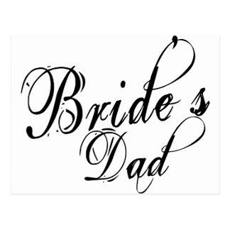 Naughy Grunge Script - Bride s Dad Black Postcards