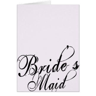 Naughy Grunge Script - Bride s Maid Black Greeting Cards
