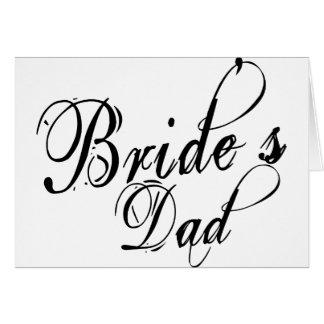 Naughy Grunge Script - Bride's Dad Black Greeting Card