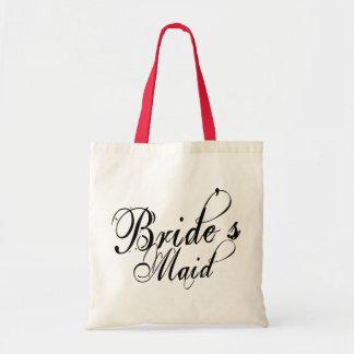 Naughy Grunge Script - Bride's Maid Black Canvas Bags