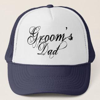 Naughy Grunge Script - Groom's Dad Black Trucker Hat
