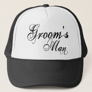 Naughy Grunge Script - Groom's Man Black Trucker Hat