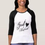 Naughy Grunge Script - Just Married Heart Black Tee Shirt