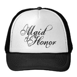 Naughy Grunge Script - Maid Of Honor Black Trucker Hats
