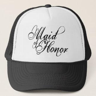 Naughy Grunge Script - Maid Of Honor Black Trucker Hat