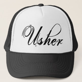 Naughy Grunge Script - Usher Black Trucker Hat