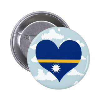 Nauruan Flag on a cloudy background 2 Inch Round Button