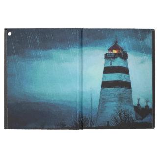 "Nautic lighthouse with light a rainy dark night iPad pro 12.9"" case"
