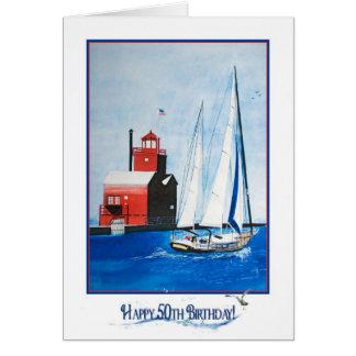 Nautical 50th Birthday Greeting Card