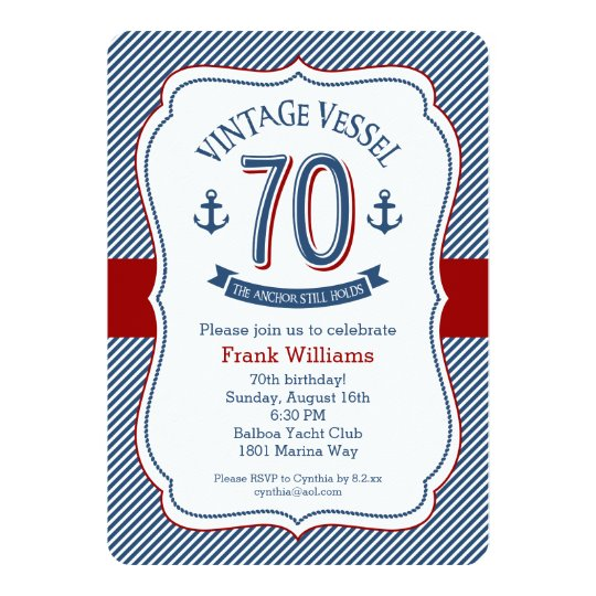Nautical 70th Birthday Card