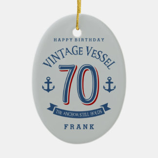Nautical 70th Birthday Ceramic Oval Decoration