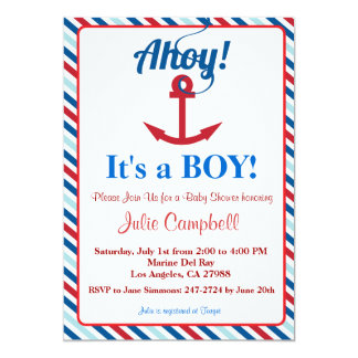 Nautical Ahoy Boy Baby Shower Invitation