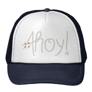 Nautical Ahoy Rope Text with Lifesaver Cap