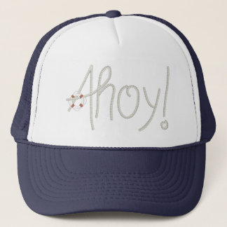 Nautical Ahoy Rope Text with Lifesaver Trucker Hat